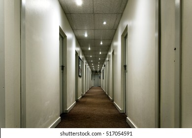 hallway in a hotel emphasizing perspective and lines