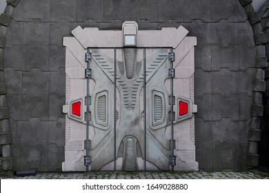 Hallway with a magic door in a spaceship. Metal security doors to a building from a game or fairy tale. Futuristic design