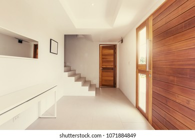 hallway modern interior, wood and white color design