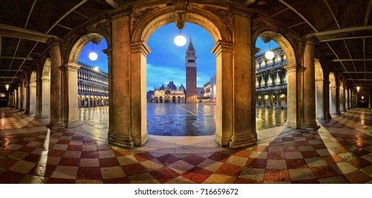 Hallway night panorama view at Piazza San Marco in Venice, Italy.