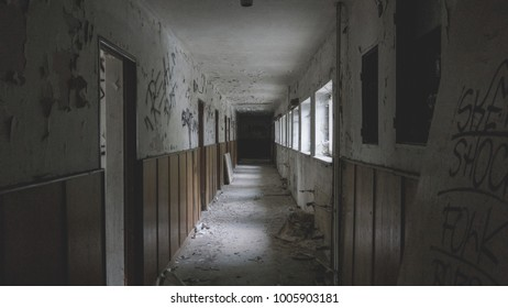 Hallway in an old abandoned hotel from socialism. Slovakia