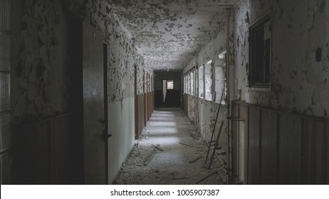 Hallway in an old abandoned hotel from socialism