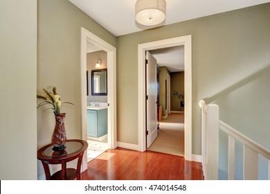 Hallway with olive walls and hardwood floor. Open doors to bathroom and bedroom. Northwest & Hallway Door Images Stock Photos \u0026 Vectors | Shutterstock