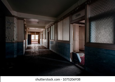 A hallway view inside the formerly abandoned Stambaugh Building in downtown Youngstown, Ohio.
