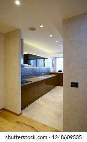 Hallway view on new modern kitchen interior