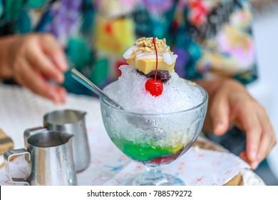 Halo halo, Filipino summer dessert in Philippines