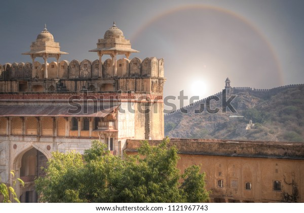 halo over Amer Fort Jaipur. India