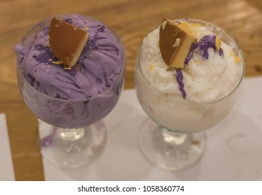 Halo Halo in Philippines sitting on a table.