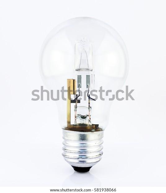 Halogen light source. Electronic equipment detail. Energy saving bulb on white background.