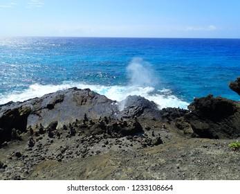 Halona point blowhole in Hawaii