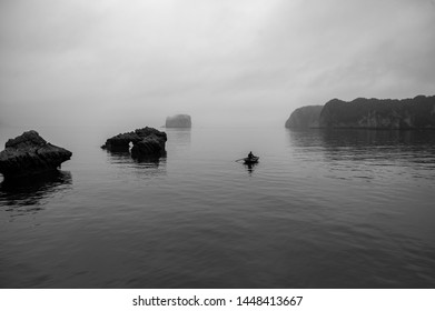 Halong Bay North Vietnam Near Cat Ba City, BW/ Leica Monocrome