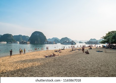 Halong Bay - November 3,2017 : Tourists can seen swimming and exploring around the beach in Ti Top Island.It is one of the most attractive site for both international and domestic tourists to Halong.