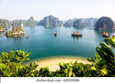 Ha-long Bay on a sunny day, viewed from the summit of a nearby island