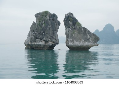 Halong Bay , Vietnam - March 17, 2018 : Hon Ga Choi Island(Fighting Cocks Island), or Trong Mai Island (Cock and Hen Island).