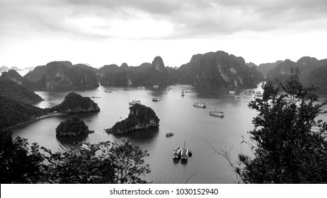 Halong Bay in Vietnam. A nice black and white copy of this beautiful bay.