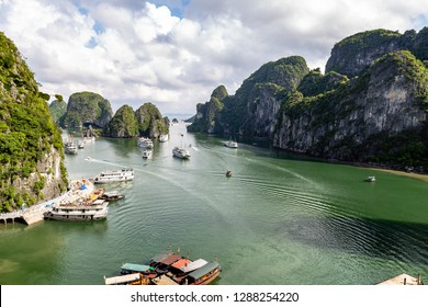 Halong Bay, Vietnam -panorama of the bay in front of Hang Sung Sot grottoes. Halong Bay is a UNESCO World Heritage Site, famous for its karst formations