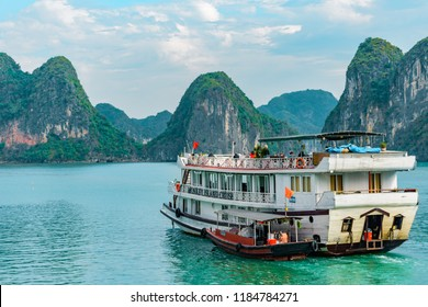 Halong Bay, Vietnam - September 16 2017: Unesco World Heritage - Ha Long Bay