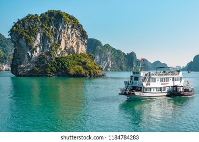 Halong Bay, Vietnam - September 16 2017: Unesco World Heritage - Ha Long Bay