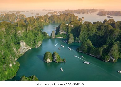 Halong Bay, Vietnam. Unesco World Heritage Site. Ha Long Bay, in the Gulf of Tonkin, includes some 1,600 islands and islets. Beautiful landscape. View from above.