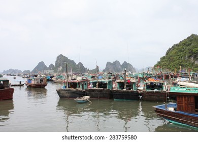 Halong, Vietnam May 30: Boat on Ha Long Bay.Halong Bay, a world natural heritage in Vietnam on May 30, 2015