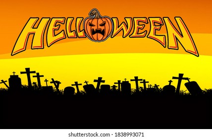 Haloween background banner. Haloween party sign vector cover illustration. helloween icon collection. Flat design cartoon concept - Shutterstock ID 1838993071