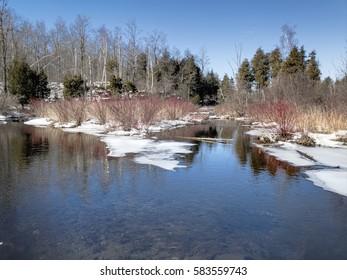 Halton Falls trails during winter in Milton, Ontario, Canada