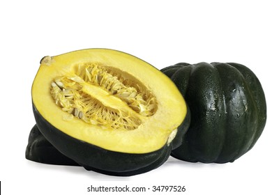 halved acorn squash isolated on white background with clipping path