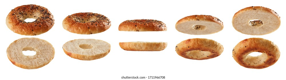Halved bagels with seeds levitating in different positions isolated on white background