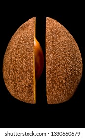 halved mamey sapote with exposed seed