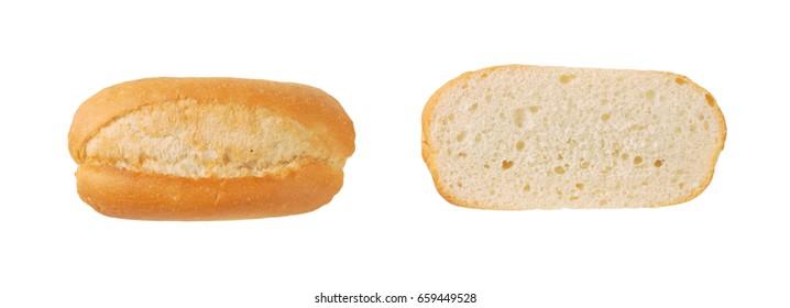 halved mini baguette on white background
