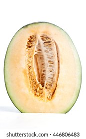 halves of cantaloupe on the white background