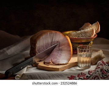 Ham with bread