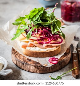 Ham, Cheese, Apple, Pickeled Red Onion and Salad Leaf Open Sandwich, square