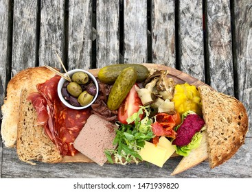 Ham, cheese and pate platter with toasted breaad