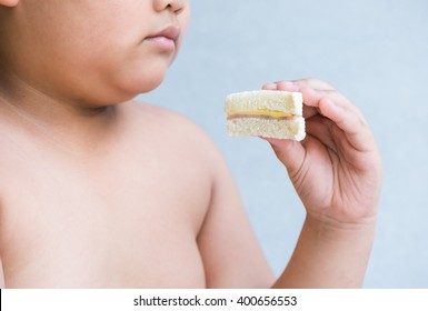 ham and cheese sandwich on hand obese boy.