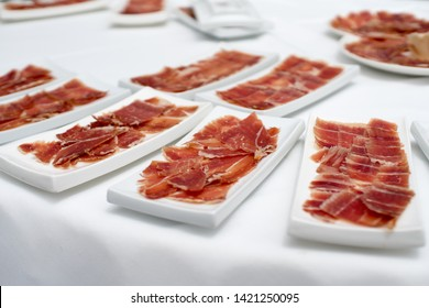 Ham dishes cut by a professional ham cutter. These dishes are usually served in the celebration of a wedding in Valencia, Spain.