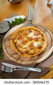 The Ham pizza dough thin frame with pork.