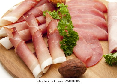Ham plate with parsley