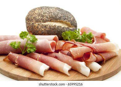 Ham plate with poppy rolls