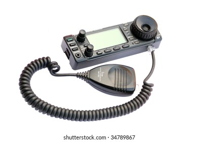 A ham radio handheld transceiver. An isolated object on a white background