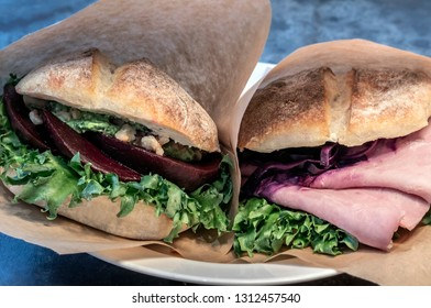 Ham sandwich with lettuce