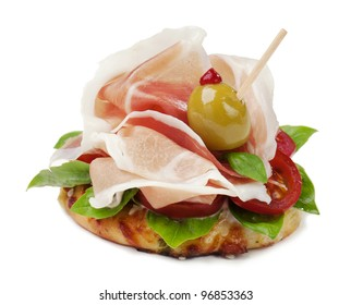 Ham Sandwich with olive, Tomato and salad
