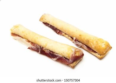 Ham sandwich on a white background