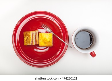 ham sandwiches and coffee on white background