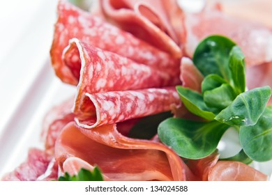 ham and sausage, macro shot , focus on a foreground