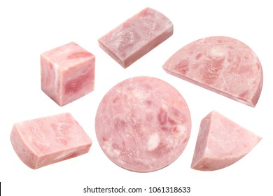 Ham sausage in pieces, chunks, cube, halves and slices. Clipping paths