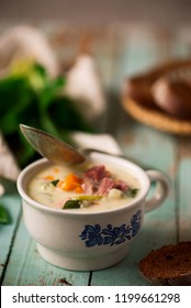ham soup with potatoes and kale..style vintage.selective focus