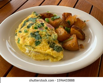 Ham and Spinach Omelette with Fried Potatoes