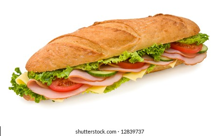 Ham & Swiss 12 inch submarine sandwich isolated on white