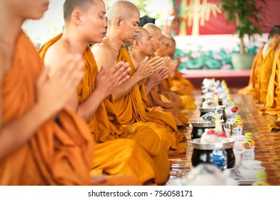 Ham Tan town, Binh Thuan province, Vietnam - August 12, 2016: Monks of Theravada Buddhism have lunch ceremonial in hall